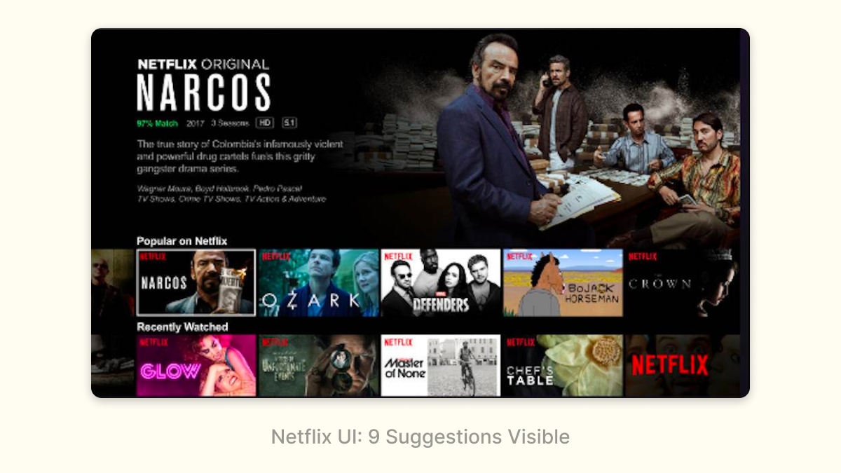 Netflix UI: 9 Suggestions Visible