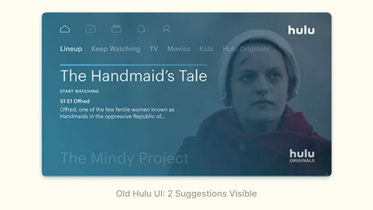 Old Hulu UI: 2 Suggestions Visible