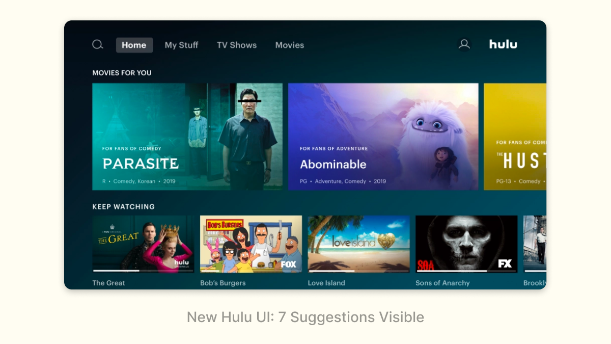 New Hulu UI: 7 Suggestions Visible